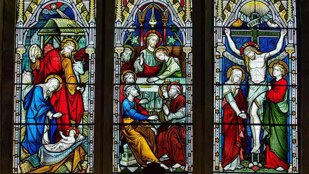 Scenes from Christ's life in the East Window