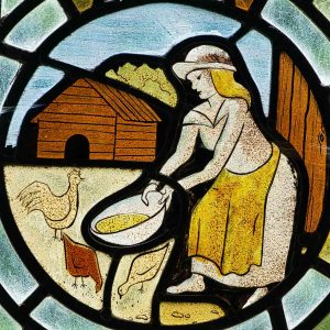 Stained Glass Feeding Chickents Robert Paterson 20th Century Bradford