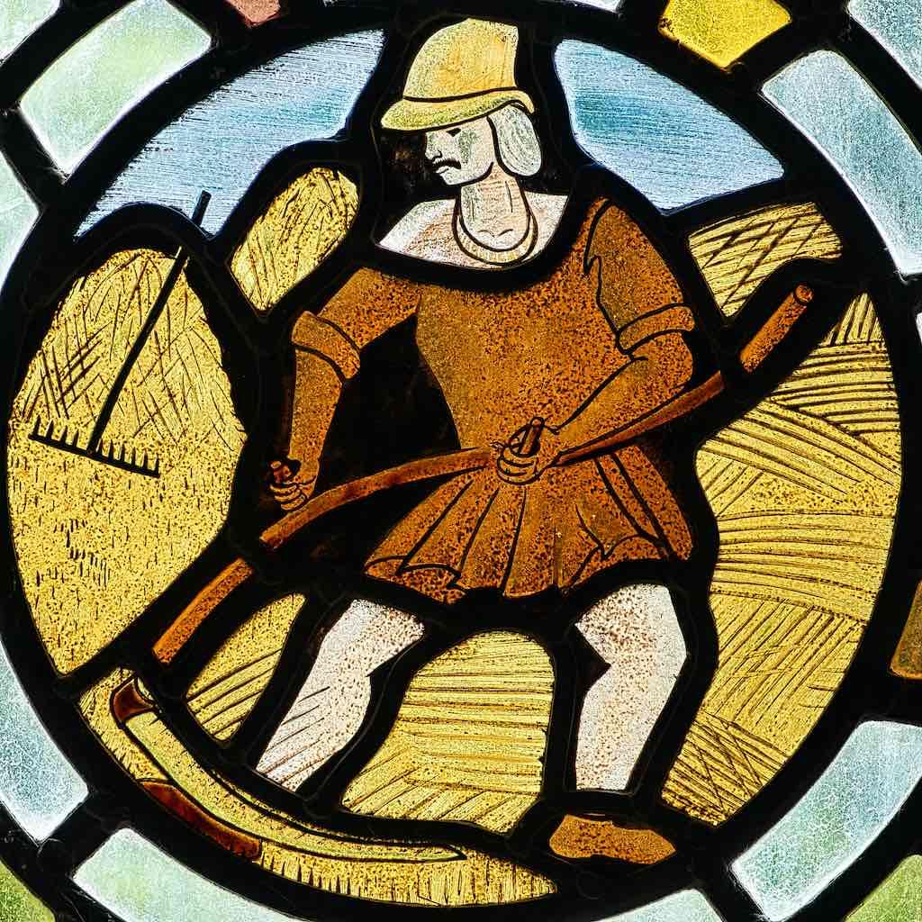 Stained Glass Harvest Wheat Scythe Robert Paterson 20th Century Bradford