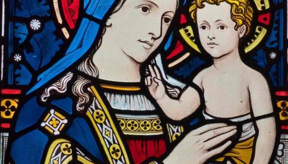 Stained Glass Madonna And Child Christ Victorian 19th Century Hemyock