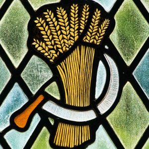 Stained Glass Wheat Scythe Robert Paterson 20th Century Bradford