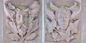 Stone Carving Plain Green Man Victorian 19th Century Bradford