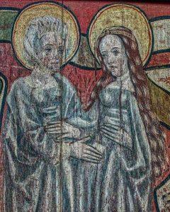 Chancel Parclose Grisaille Paintings Incarnation Of Christ Visitation Virgin Mary Saint Elizabeth Sacred Art 15th Century Medieval Ashton