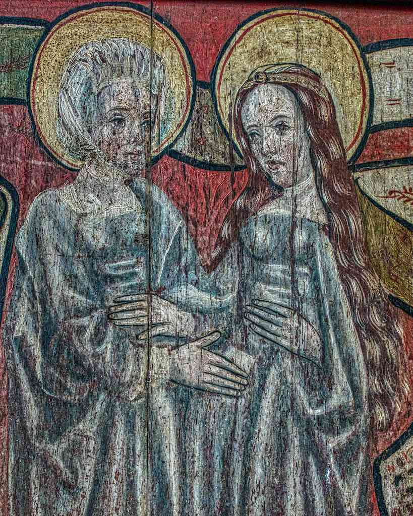 The Visitation, when the Virgin Mary (on the right) visited Elizabeth, the future mother of John the Baptist.