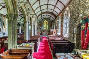 Church Interior Nave Pillar Pews Stonework Granite 15th Century Medieval Marystow