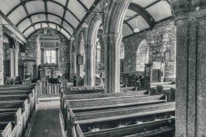 Church Interior North Aisle Monument Pillar Pews Stonework Granite 15th Century Medieval Marystow