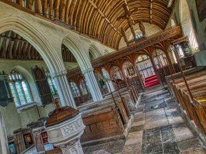 Church Interior Pillar Rood Screen Font 15th Century Medieval Ashton