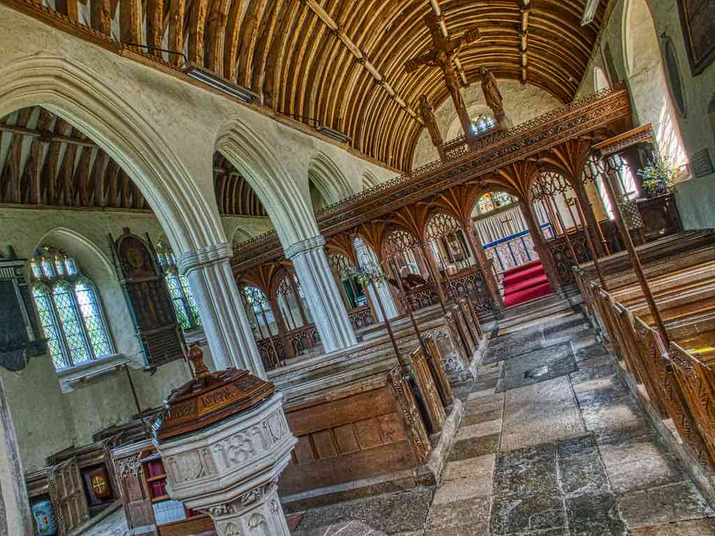 The old nave with high quality carving and such promising woodwork