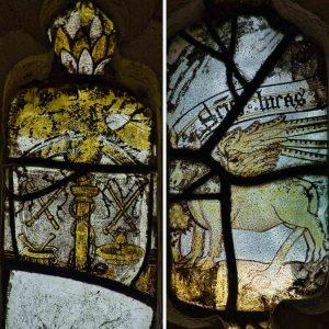 Medieval Stained Glass Winded Ox Animal Saint Luke Symbol 15th Century Medieval Ashton