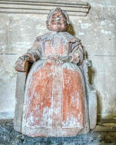 Monument Stone Carving Coloured Girl Sir Thomas Wyse 17th Century Marystow