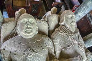 Monument Stone Carving Plain Figures Faces Sir Thomas Wyse Margaret 17th Century Marystow