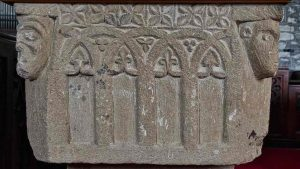 Norman Font Stone Carving Plain Arcade Foliage 12th Century Medieval Marystow