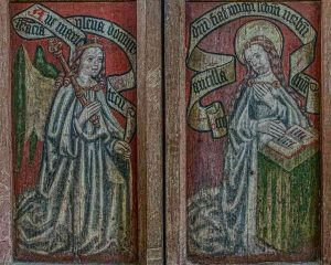 North Chapel Door Rood Screen Grisaille Paintings Incarnation Of Christ Annunciation Angel Gabriel Virin Mary Sacred Art 15th Century Medieval Ashton