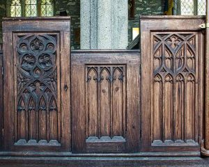 Pews Wood Carving Plain Neo Gothic Pine Victorian 19th Century Marystow