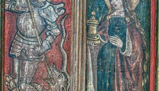 Rood Screen Painting Saint George Mary Magdalene Wainscoting 15th Century Medieval Ashton