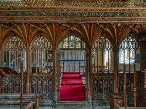 Rood Screen Wood Carving Plain Coloured Vaulting Cornice 15th Century Medieval Ashton