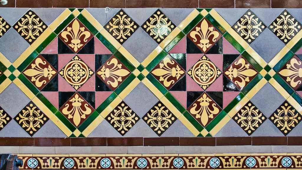 Glazed Victorian wall tiles