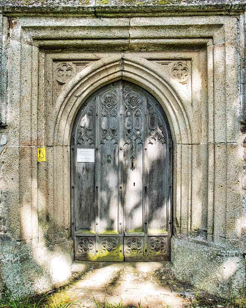 The old west door, carved out of volcanic stone