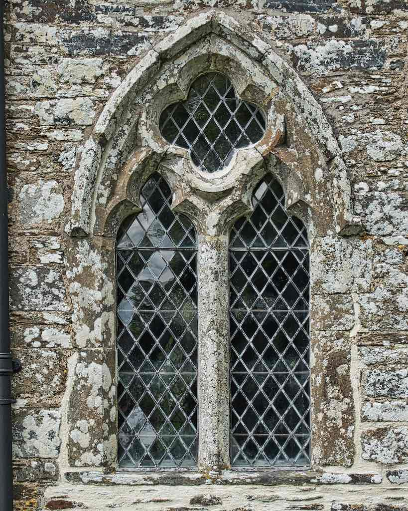 A 14th century (1300s) window, somewhat repaired