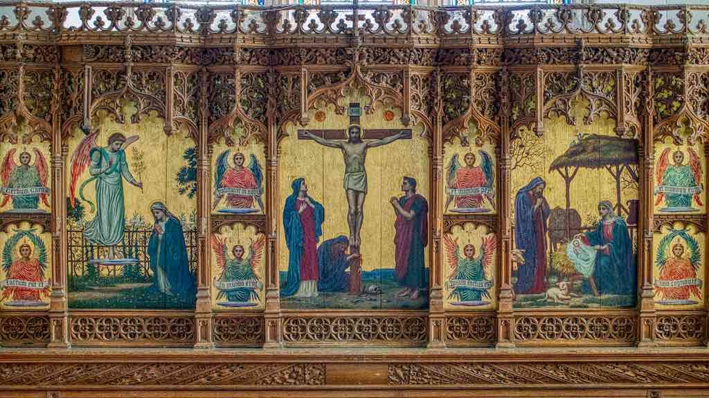 Such a wonder the Manaton reredos (altar back) by Edward Fellowes Prynne