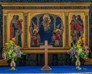 Altar Back Reredos Nativity Angels Virgin Mary Magi Shepherds Christopher Webb 20th Century Brentor