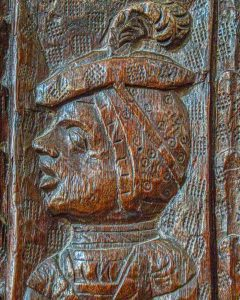 Bench End Wood Carving Plain Figure Feather 16th Century Medieval East Budleigh
