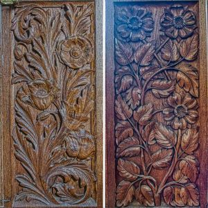 Bench End Wood Carving Plain Flowers Foliage Violet Pinwill Sisters 20th Century Manaton