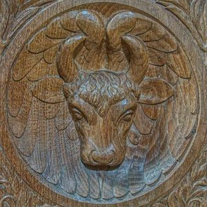 Bench End Wood Carving Plain Winged Ox Saint Luke Animal 20th Century East Budleigh