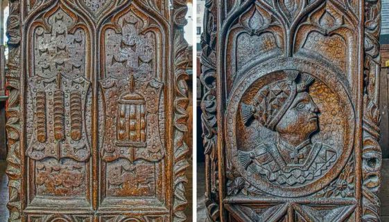 Bench Ends Wood Carving Plain 16th Century Medieval Thirty Pieces Of Silver Mortehoe