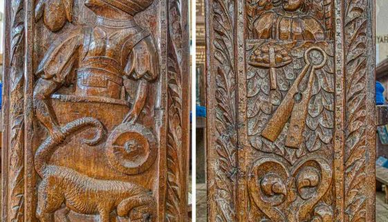 Bench Ends Wood Carving Plain Figure 16th Century Medieval East Budleigh
