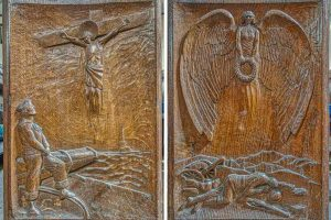 Bench Ends Wood Carving Plain WW1 Memorial Angel Figure 20th Century East Budleigh