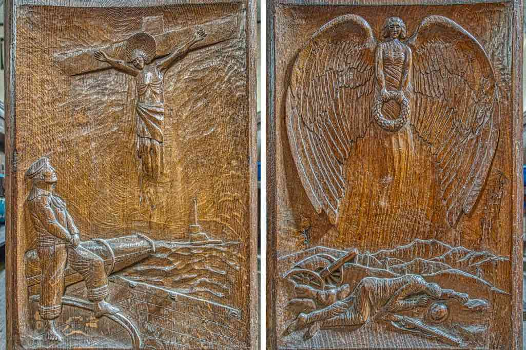 WWI memorial bench ends
