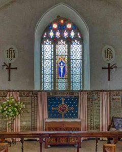 Chancel Altar East Window Ten Commandments Victorian 19th Century Knowstone