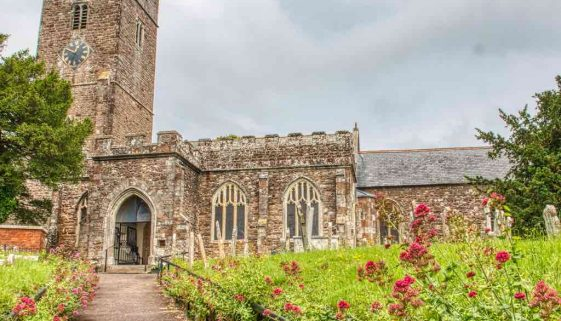Church Exterior Red Stone Stonework West Tower 15th Century Medieval East Budleigh
