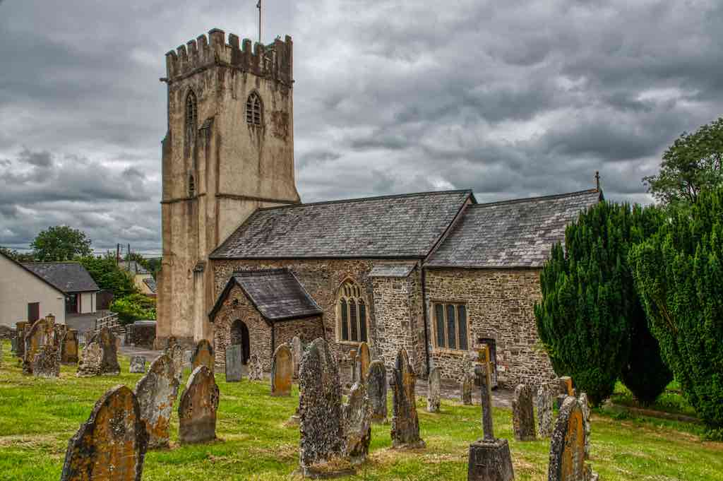 The mainly 15th century Knowstone Church of St Peter