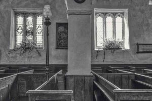 Church Interior Nave Black And White Pillar Peace Knowstone