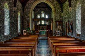 Church Interior Stonework Nave Chancel Roof Pews Victorian 19th Century Brentor
