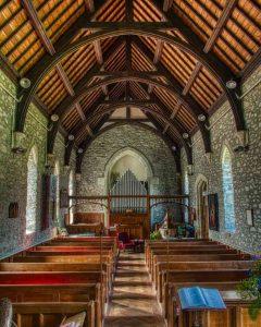 Church Interior Stonework Roof Pews Nave Victorian 19th Century Brentor