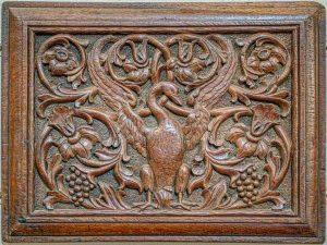 Flemish Phoenix Foliage Wood Carving Plain 17th Century East Budleigh