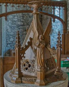Font Cover Angel Wood Carving Plain 20th Century Brentor