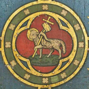 Lamb Of God Agnus Dei Painting Reredos Altar Back Victorian 19th Century Knowstone