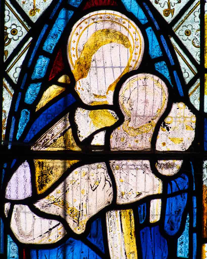 15th century stained glass, Madonna and Child