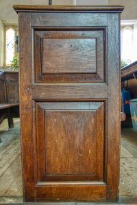 Pew Bench End Wood Carving Plain Panelling 19th Century Knowstone