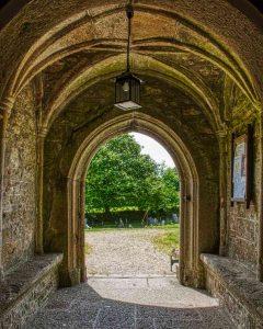 Porch Stone Vaulting Door Stonework Granite 15th Century Medieval Manaton