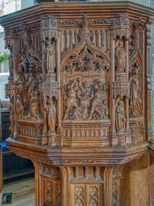 Pulpit Neo Gothic Harry Hems Wood Carving Plain Victorian 19th Century East Budleigh