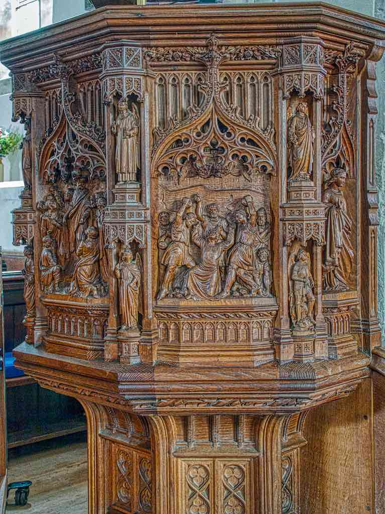 Designed by G Fellowes Prynne and carved by Harry Hems of Exeter, this 1894 pulpit is the business
