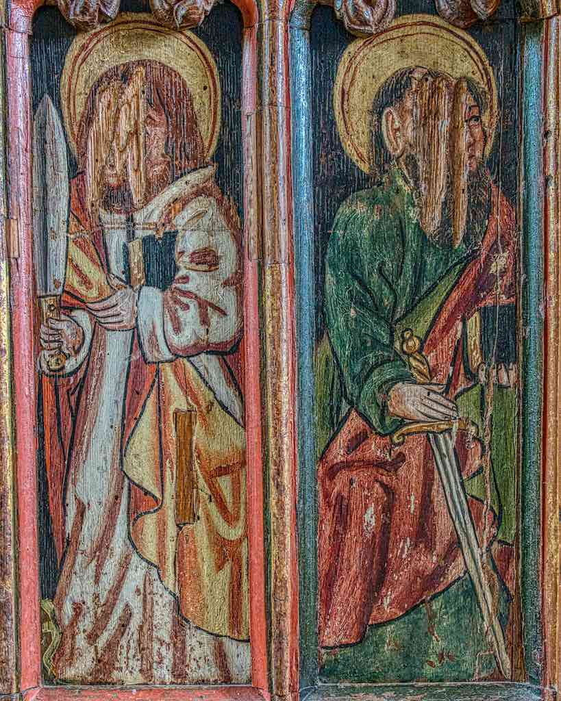 St Bartholomew and St Paul with ravaged faces