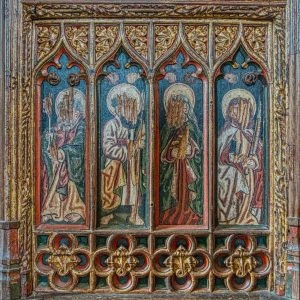 Rood Screen Wood Carving Coloured Painting Wainscoting Figure Saint 15th Century Medieval Manaton