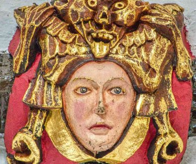 Roof Boss Demon Titivillus Face Wood Carving Coloured 15th Century Medieval East Budleigh