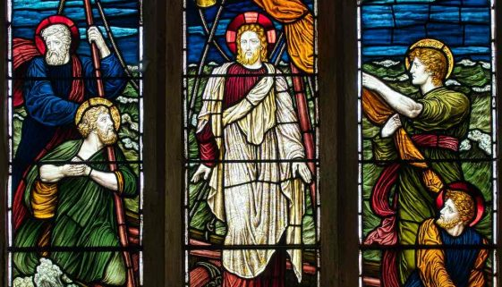 Stained Glass Christ Calming The Storm Victorian 19th Century Mortehoe